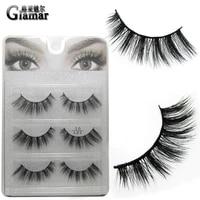 3 pairset good quality full strip eyelashes 3d faux mink false lashes natural long hand made synthetic hair makeup