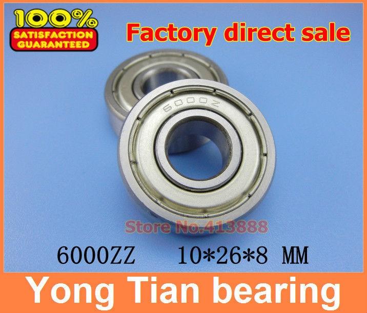 High quality deep groove ball bearing 6000 Z 6000ZZ 6000Z 6000-2Z 80100 10*26*8 mm 20pcs/lot free shipping quality