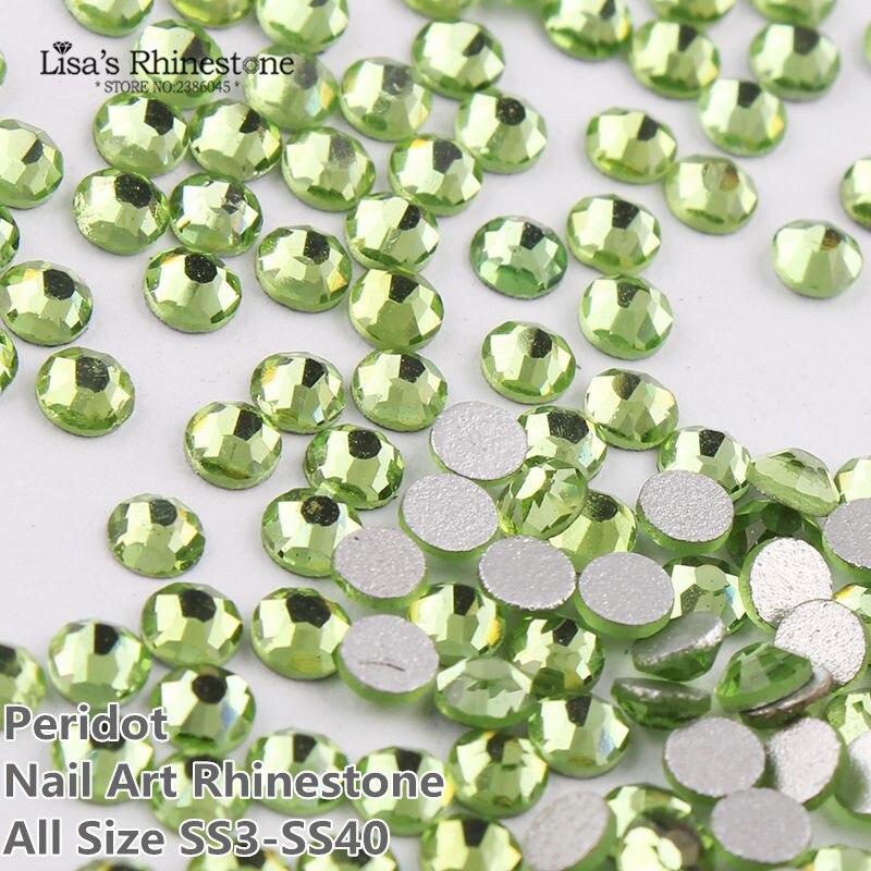 SS3-SS34 Light Green Nail Art Glass Rhinestones Flatback Non Hotfix Glue On Rhinestone For Nails DIY