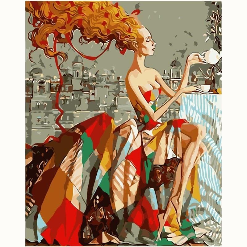 Pintura al óleo bonita para mujer, pintura con números, pinturas, colorear digitalmente a mano, regalo único, decoración de habitación, decoración del hogar