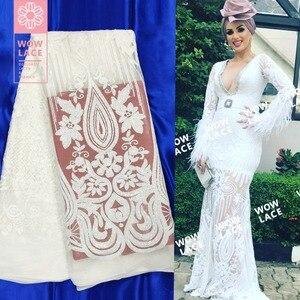 Белая сетчатая Тюлевая кружевная ткань, африканские платья невесты из Дубая, кружевные материалы, уникальный дизайн, вышитые блестками тка...