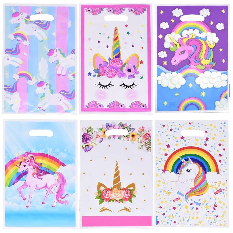 10 шт./лот, пластиковые подарочные пакеты с единорогом, конфетная сумка с фламинго для детей, вечерние подарки на день рождения, Детская тема, подарок на свадьбу