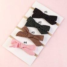 Big Bow Baby Headband 4PC Cotton linen Dot bowknot headband Baby Kids Head Accessories Baby Solid Bo