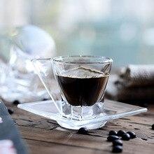 Tasses à café en cristal expresso   Sans plomb, verre trempé de qualité supérieure, plat à café, tasse
