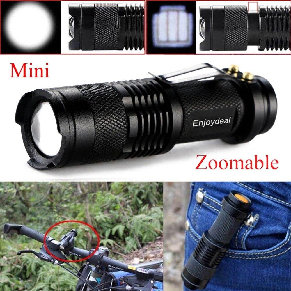 Mini linterna LED de 5 colores 2000 lúmenes Q5 linterna LED AA/14500 ajustable de enfoque con zoom linterna minilinterna para caza