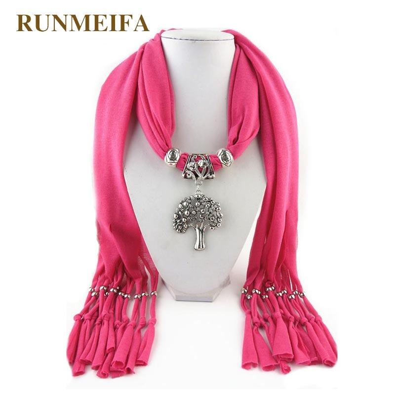 Collares colgantes RUNMEIFA, bufanda para mujer, colgante acrílico de aleación de hierro para árbol, accesorio para bufandas, bufanda, envío gratis, 180*40cm