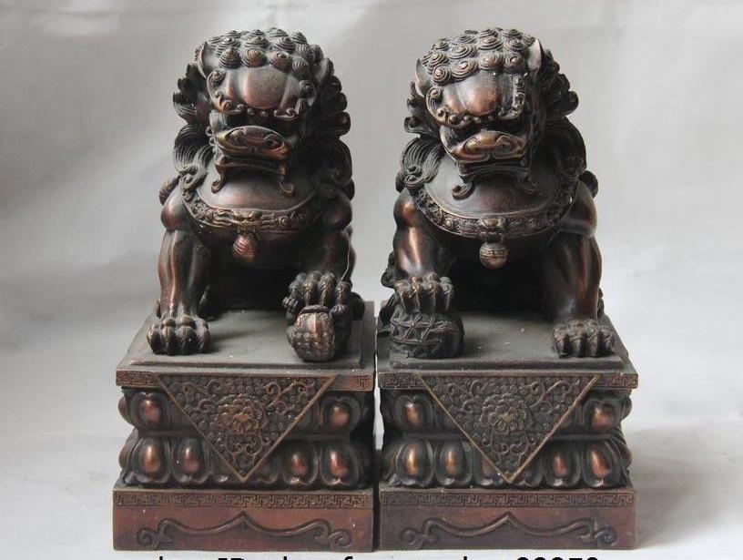 China Palacio Rojo cobre bronce guardia puerta Foo perro León hijo bola estatua par