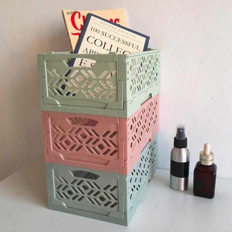 Cesta para almacenar apilable de plástico plegable a la moda organizador de maquillaje Househlod mesa superior artículos diversos organizador caja cesta