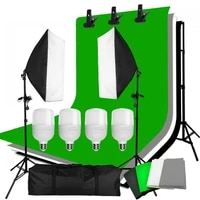 zuochen 4pcs 25w led photo studio softbox soft box lighting 4 backdrop 2x2m background support stand kit for video shooting