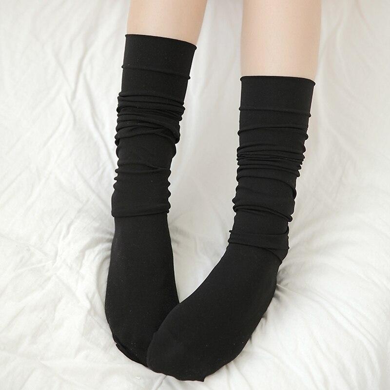 1Pair Mini Women Girls Fashion School Student SocksSpring Summer Opaque Over Knee Thigh High Elastic Sexy Stockings black/white