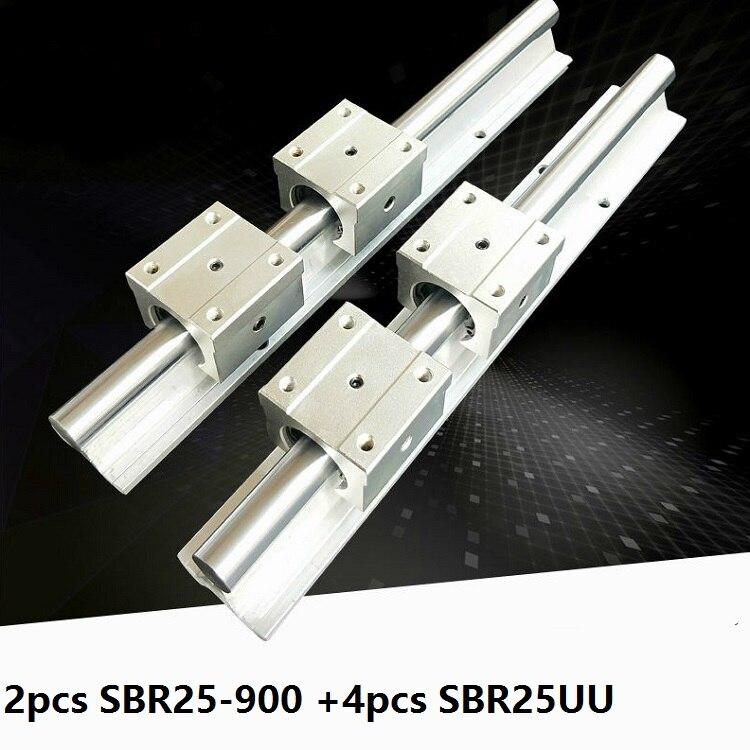 2 قطع SBR25 25 ملليمتر 900 ملليمتر دعم دليل خطي السكك الحديدية + 4 قطع SBR25UU الخطي تحمل انزلاق كتل CNC راوتر أجزاء