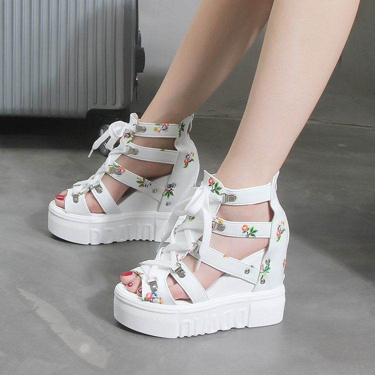size 42 Wedges Shoes For Women Sandals  High Heels Summer Shoes 2019 Chaussures Femme Platform Sandals white shoes