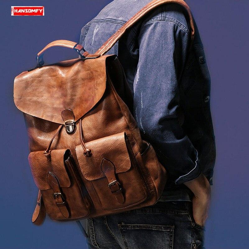 Nuevo cuero de gamuza de los hombres de mochila portátil bolso de hombre Vintage cerradura de viaje mochilas Retro Real cuero de vaca de cuero genuino