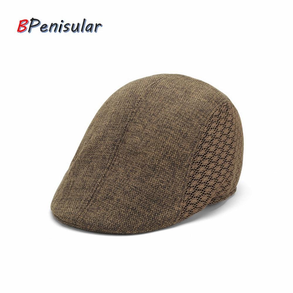 2018 Summer Unisex Sun Breathable Hat for Men Women Fashion Flat Caps Black Cabbie Hats Golf Driving
