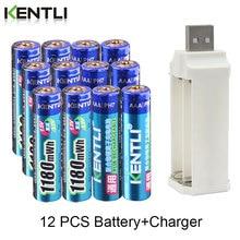KENTLI 12 pièces 1.5v 1180mWh aaa polymère lithium li-ion batteries rechargeables batterie + 4 fentes lithium li-ion chargeur