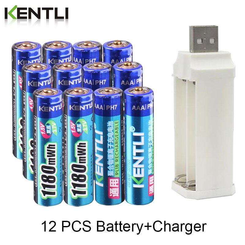 Kentli 12 pces 1.5v 1180mwh aaa polímero lítio li-ion baterias recarregáveis bateria + 4 slots lítio li-ion carregador