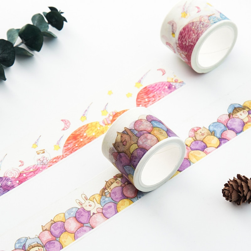 1 unids/set Kawaii Bola de colores Piscina/Candy Hill cinta decorativa washi DIY planificador álbum de recortes diario cinta adhesiva