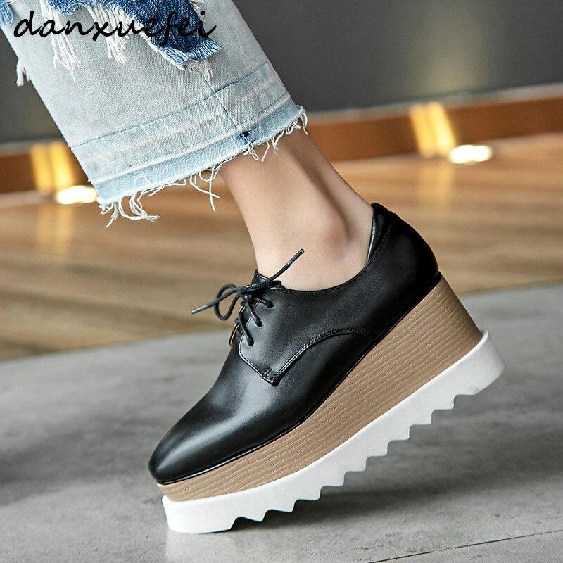 حجم كبير 33-42 المرأة جلد طبيعي منصة الشقق oxfords lacce متابعة ربيع جديد الإناث الترفيه الأحذية أحذية فائقة الجودة