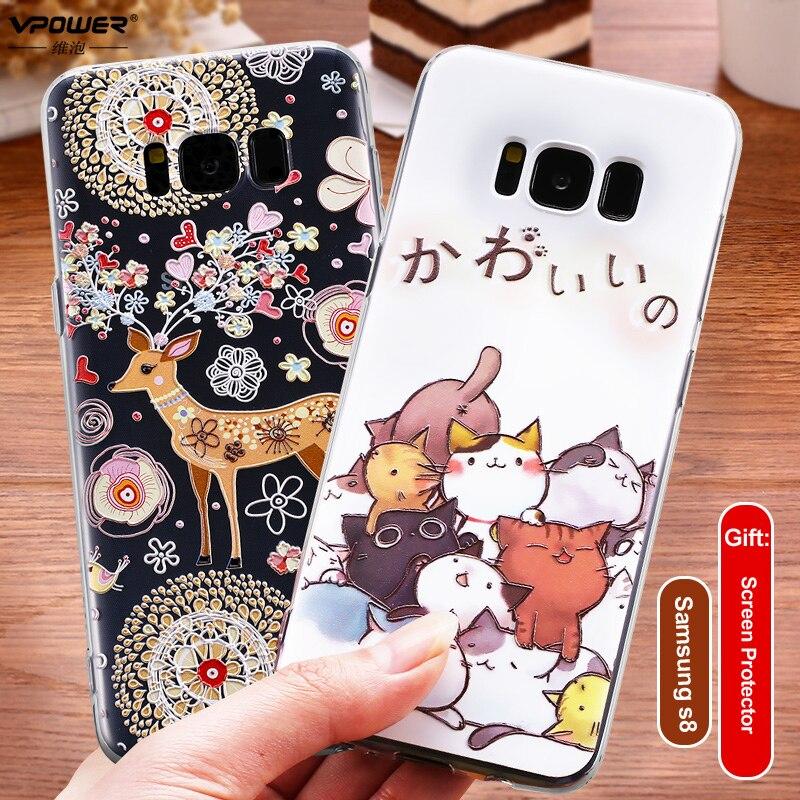 Para Samsung Galaxy S8 Plus, funda de tpu con relieve 3D bonito, funda trasera para chica a la moda, Fundas protectoras de silicona suave para Samsung s8 S8 Plus