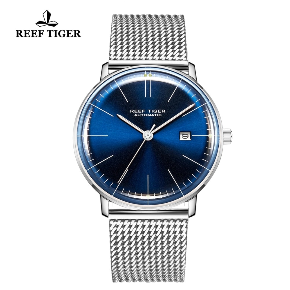 Relogio Reef Tiger/RT Top Brand Luxury Blue Ultra Thin Watch for Men Full Steel Watch Waterproof Unisex Simple Watches RGA8215