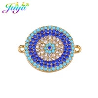 juya 5pcslot classic jewelry findings greek evil eye round charm connector accessories for diy craft connect jewelry making