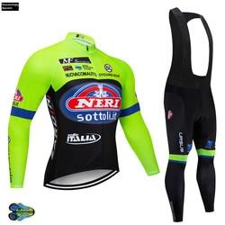 2019 pro dos homens italia camisa de ciclismo manga longa conjunto camisa bicicleta conjunto fluo ropa ropa de ciclismo invierno mtb roupas