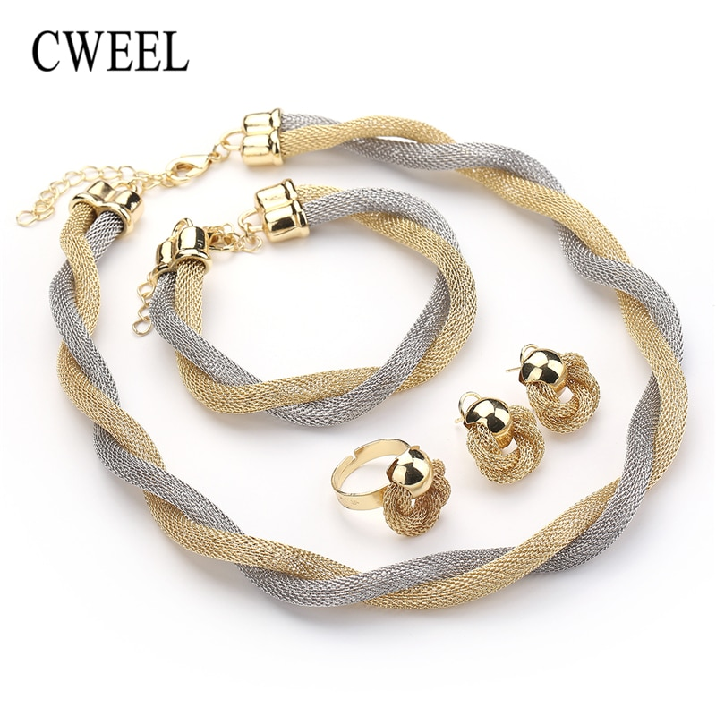 CWEEL ensemble de bijoux pour femmes perles africaines ensemble de bijoux de mariage torsion armure collier ras du cou mariée Dubai éthiopien ensembles de bijoux