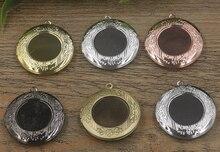BASEHOME 5 pcs/lot Antique Bronze plaqué peut ouvrir Photo médaillon flottant pendentif breloques pour bricolage mémoire collier fabrication de bijoux