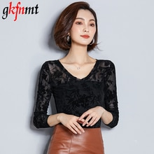 gkfnmt 2018 Blusas Femininas Autumn Women Tops Fashion Sexy Slim Fit Shirts Lace Crochet Long Sleeve O-Neck Leisure Blouse Plus