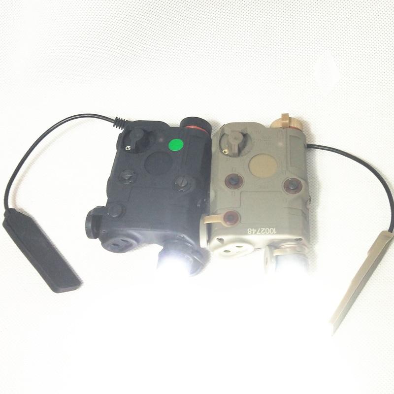 Airsoft táctico AN/PEQ-15 láser de punto verde con linterna LED blanca, iluminador IR para caza al aire libre negro/bronceado