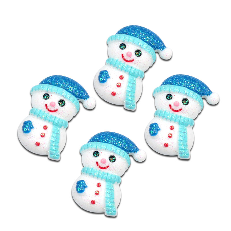 Lf 10 peças de decoração de resina para scrapbooking, acessórios para decoração de natal bonito de boneco de neve, bordados de cabochão