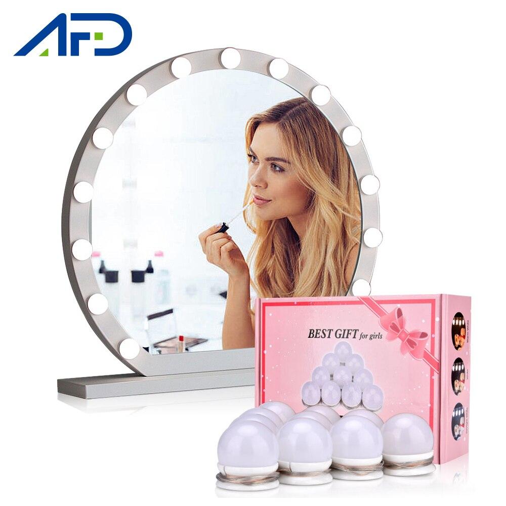 LED para espejo de tocador luces estilo Hollywood maquillaje lámpara tocador Mesa bombillas 10 Uds carga USB CON CAJA Original 3 modos de luz