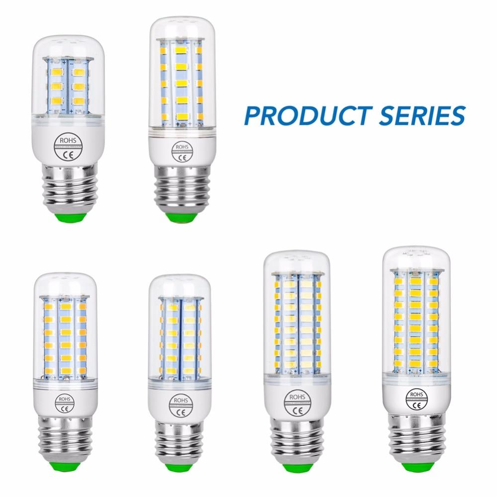10 sztuk ampułka LED E27 220V E14 lampa LED żarówka kukurydza SMD5730 oświetlenie energooszczędne domu Bombillas LED dla żyrandol do wnętrz świeca