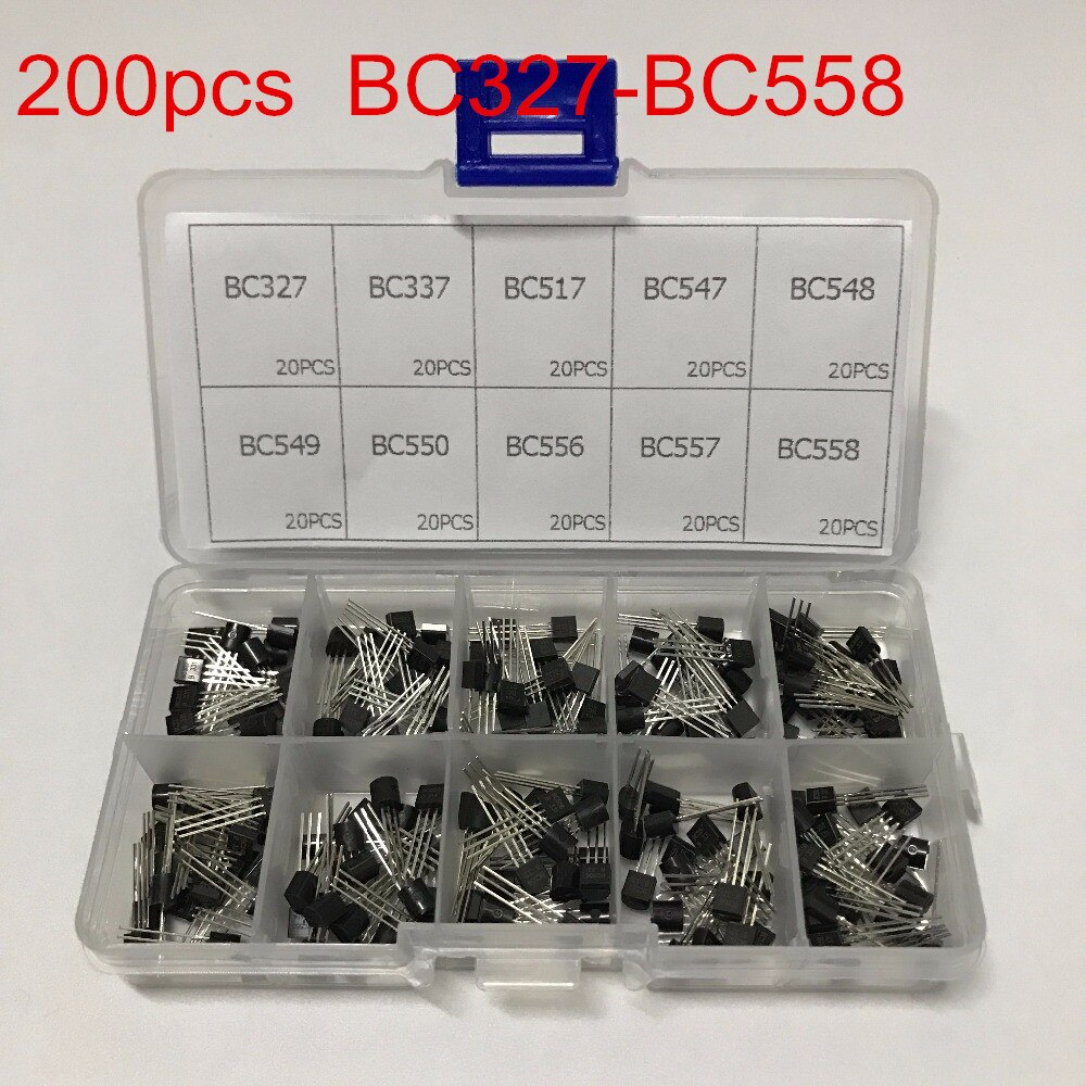 10 valores 200 Uds (BC327 ~ BC558) BC337 BC549 BC550 BC517 BC556 BC547 BC557 BC548 Transistor NPN surtido Kit surtido