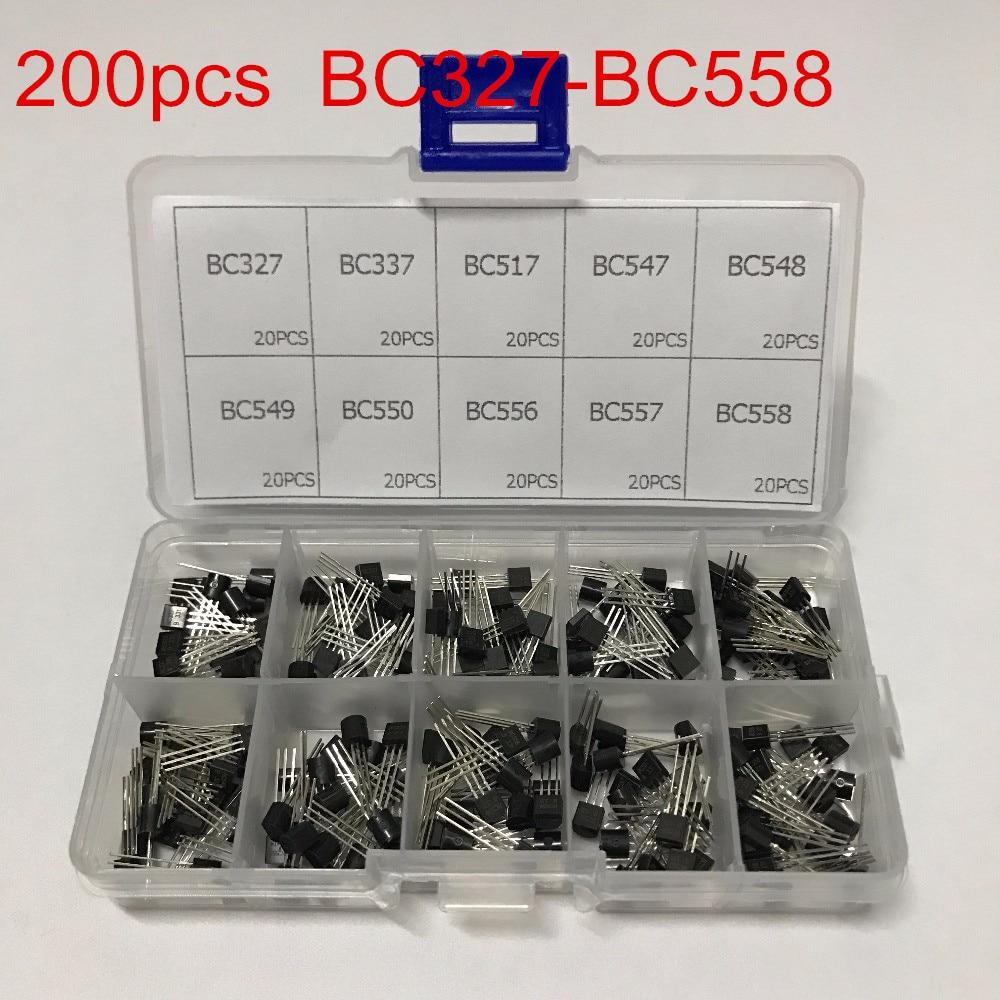 10 valores 200 peças (bc327 bbc558) bc337 bc549 bc550 bc517 bc556 bc547 bc557 bc548 npn variedade transistor sortido kit