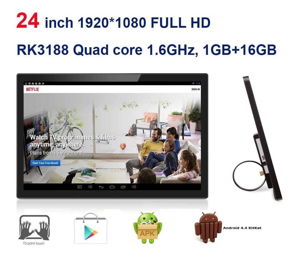 Pc todo en uno Android de 24 pulgadas, kiosco, smart TV 3 en 1 (pantalla táctil, RK3188 1,8 GHz, Quad core 1GB DDR3 16 GB, cámara, VESA, Bluetooth)