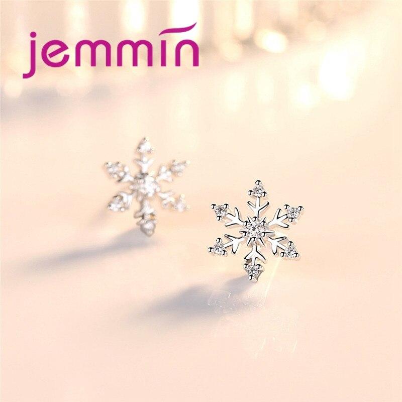 Minimalist Snowflake Shape Sparking Cubic Zirconia Hot Sale 925 Sterling Silver Stud Earring Woman Girls Valentines Gift