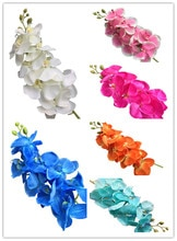 Orchidée papillon 5p Moth Orange   8 têtes, orchidées orchidée papillon, pour centres de table, fleurs artificielles décoratives