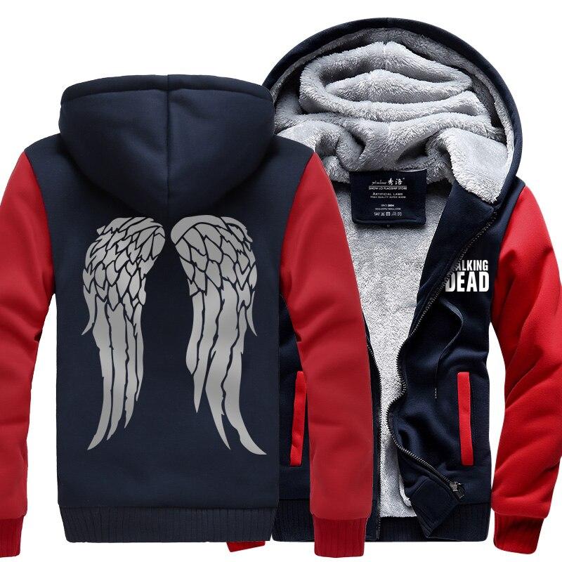 Nuevo el Zombie con capucha Daryl Dixon alas de lana de invierno para hombre Camisas Venta caliente Sudadera con capucha sudaderas espesar