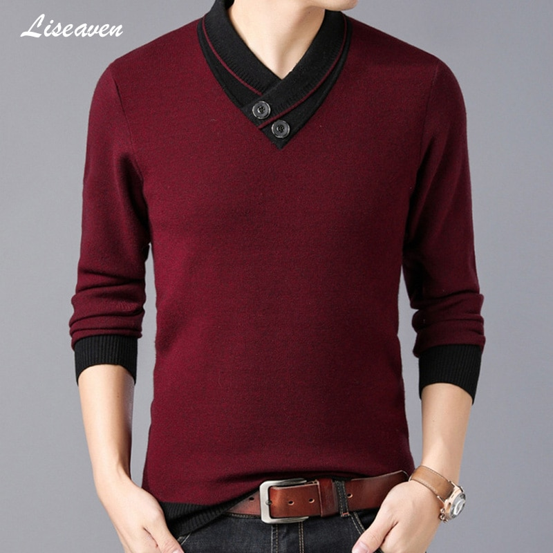 Liseaven Men 2019 Spring V-Neck Pullover Sweater Men's Casual Pullovers Men's Clothing Full Sleeve Sweaters