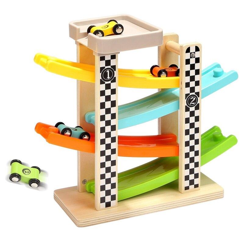 Juguetes de pista de madera coches deslizantes Carrera 4 capas Slider escalera Slot Track set de juego para niños vuelta atrás rampas coches juegos de carreras