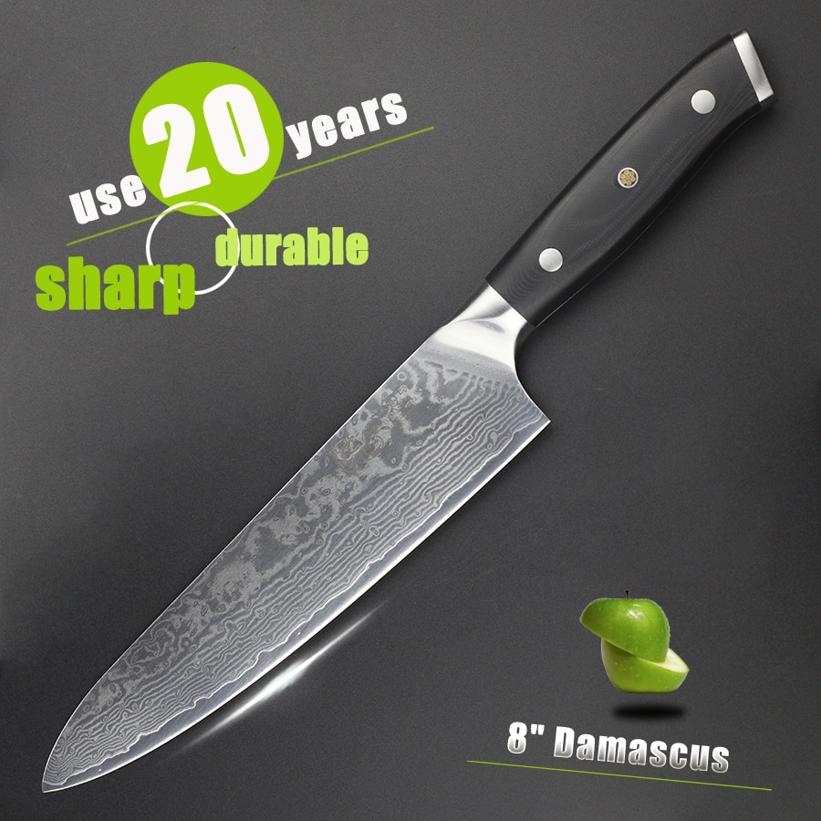 HAOYE-سكين الشيف الدمشقي الياباني vg10 ، 8 بوصات ، مقبض g10 ، تقطيع اللحوم والأسماك ، هدية