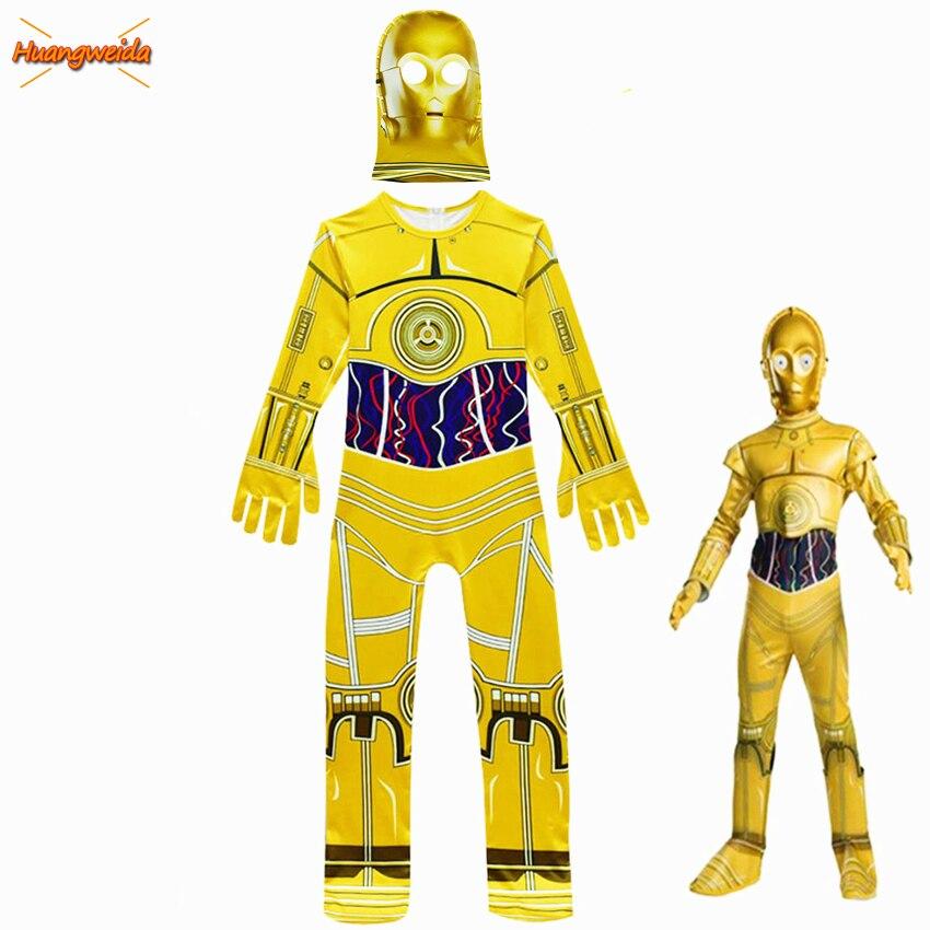 Niños película Star Wars disfraces Robot Cosplay niños fiesta suministros para fiestas de Halloween traje de Robot C-3PO niños gorros y sombreros