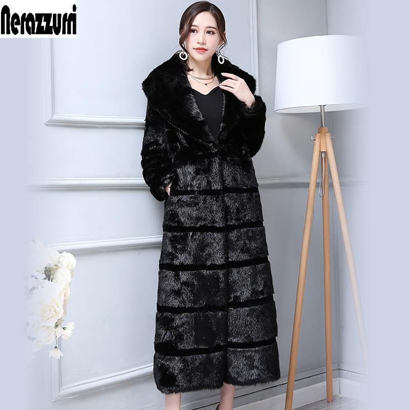 Abrigo Nerazzurri Extra largo de invierno mullido elegante de piel sintética para mujeres negro a rayas patchwork de talla grande Piel de visón falsa sobretodo 5xl 6xl