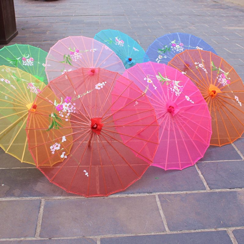 30pcs 7 Colors Available Chinese Long-straight Transparent Silk Yarn Floral Craft Umbrellas Fancy Dance Parasols wen4711