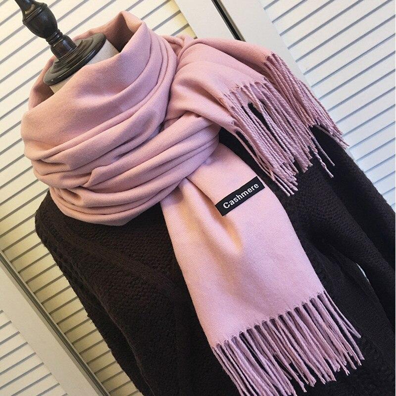 Las mujeres bufandas de cachemir de Color sólido de invierno grueso cálido...