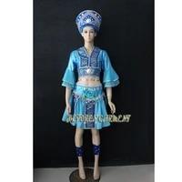 high quality women or kids customized made russian folk dance costume dress with headwear headrussia national blue dance skirt