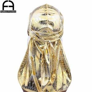 Men's Silky Durags Turban Hat Bandanas Headwear Gold Peafowl Printed Satin Men DuRag Long Straps Waves Hair Accessories