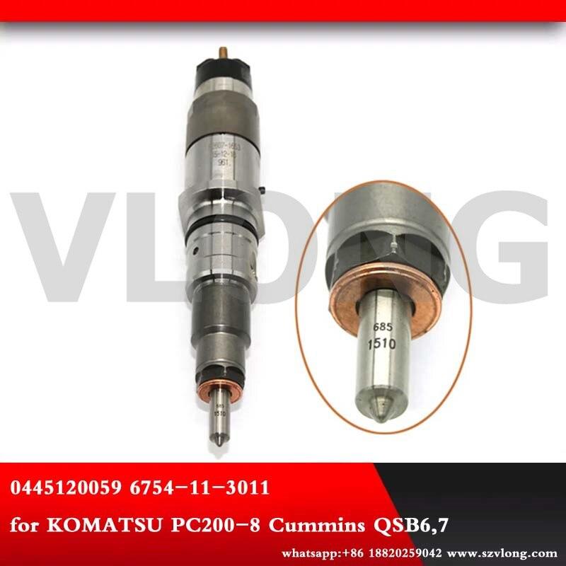 Diesel common rail fuel injector 0445120059  0445120231 for Dongfeng Cummins Ko/matsu excavator EUR-3 3976372 PC200/220/240-8