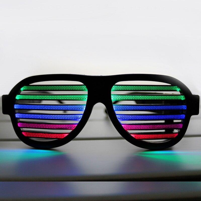 ¡Nuevo! Gafas LED recargables reactivas con sonido USB para fiesta, Club nocturno, bar, concierto, control de sonido novedad, decoración de vacaciones